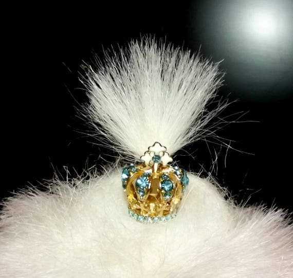 Puppy Bows ~ SUPER TINY blue, pink, white royal crown dog bow  pet hair clip barrette