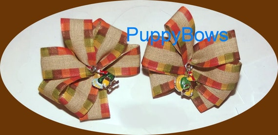 Puppy Bows ~ One Turkey charm Thanksgiving dog hair bow orange brown yellow
