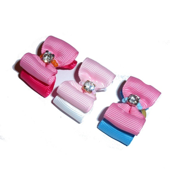 """Puppy Dog Bows ~ 7/8"""" two tone pink color  pet hair show bow barrettes or bands (FB263)"""