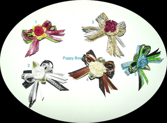 Puppy Bows ~metallic gold silver loops dog bow  pet bands, hair clip or  barrette