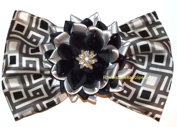 Becky Bows ~ Barrette rhinestones huge Scarf BIG hair bow Women or Girls giant  BLACK gray LOTUS Kanzashi flower