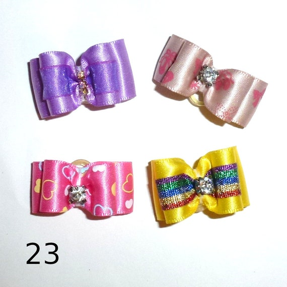 "Puppy Dog Bows ~ 5/8"" satin bowknot SET OF 4! girls pet hair show bow barrettes or bands (saset23-32)"