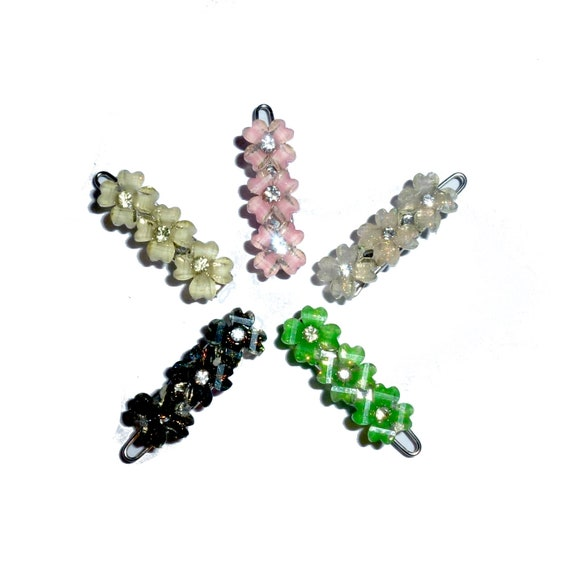 Puppy Bows ~ Wee super tiny hair flower shapes clips for dogs bow pet barrette  crystal rhinestone~ US Seller