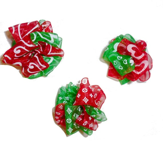 Puppy Bows ~  3 red green Christmas organza party balls pet hair dog bow puffs