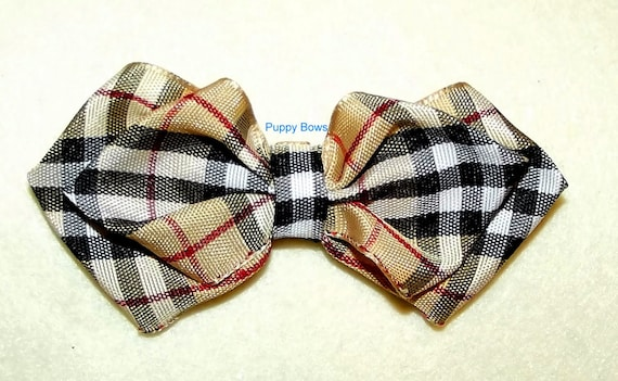 Puppy Dog Bows ~ The PAWBERRY bow tie shape pet hair bow barrettes or bands (fb104)