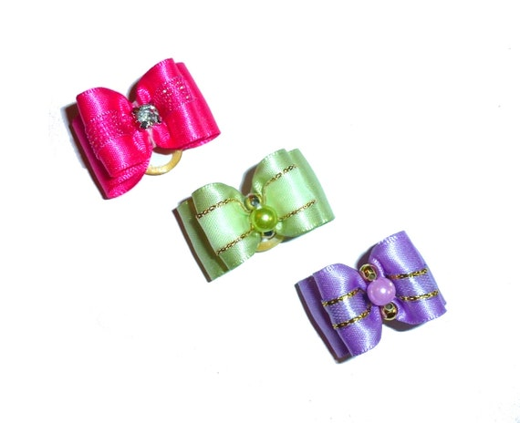 """Puppy Dog Bows ~ 7/8"""" satin banded beaded pink purple green pet hair show bow barrettes or bands (FB303)"""