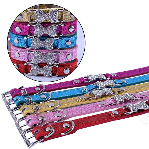"Puppy Dog Bows ~ Rhinestone dog bone glitter small dog collar 8""-11""  (fb151)"
