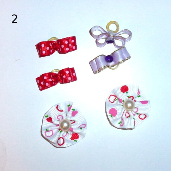 "Puppy Bows ~WEE TINY 3/8"" show bows pairs dog bow  pet hair clip barrette or latex bands (set2)"