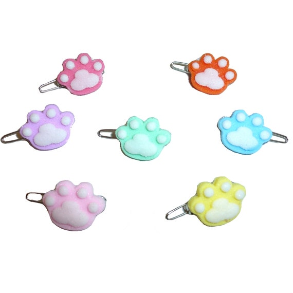 Puppy Bows ~ Wee super tiny sugar coated candy colored paw print pet hair barrette (fb209)
