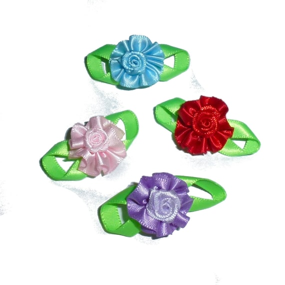 Puppy Bows ~  Set of 4 rosette rose pet hair bow flowers with green leaves
