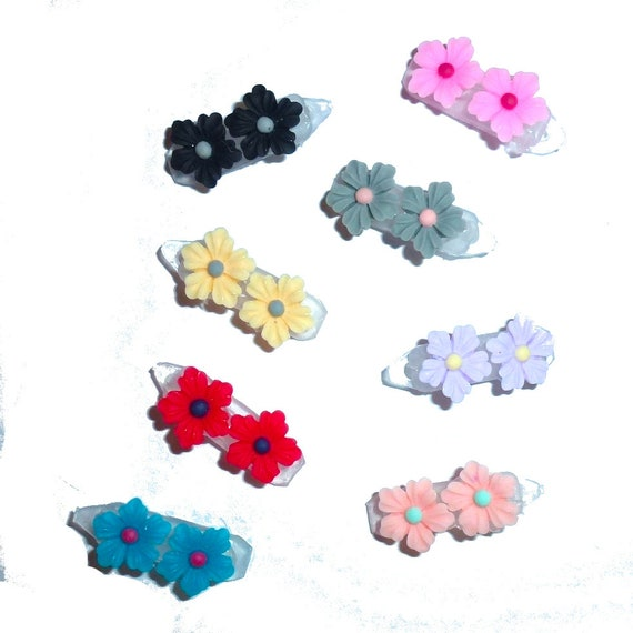 Puppy Dog Bows ~ Tiny daisy plastic puppy clips pet hair bow barrettes or bands (fb207)