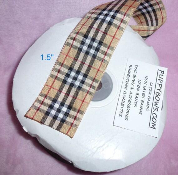 "Plaid ribbon craft supplies 3/8"", 5/8"", 7/8"", 1"", 1.5"" 2"" Scottish Tartan designer khaki black by the yard taffeta satin"