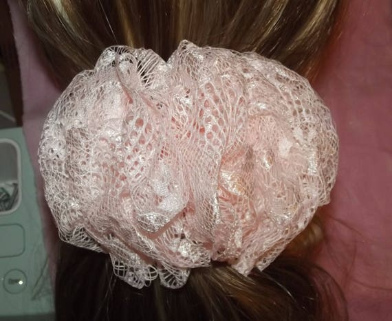 Becky Bows ~Barrette Hand crafted huge scarf rosette BIG hair bow Women or Girls LACE 6 colors!