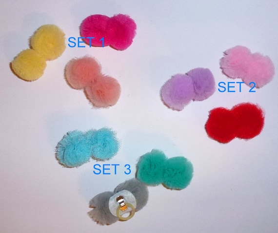 Puppy Dog Bows ~ Pom Pom ponytail balls fluffy multi color puffs for pet hair (fb96)