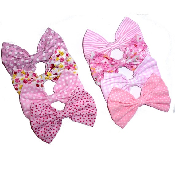 Puppy Bows ~ Pink linen bow tie dog collar slide bowtie accessory flower OR large dog hair bowknot  ~USA seller (DC10)
