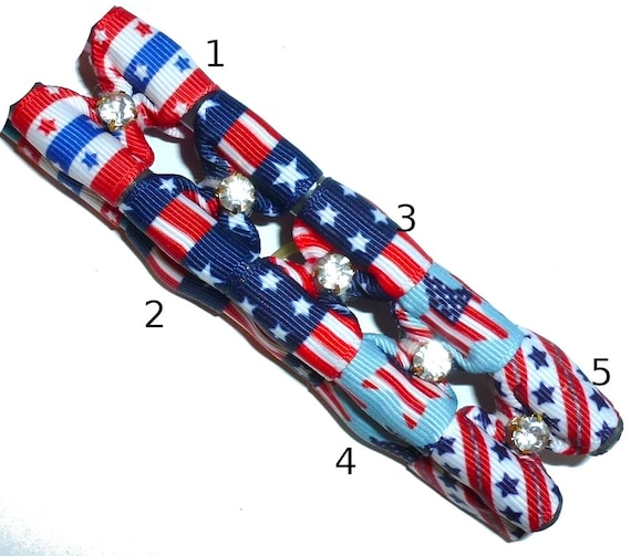 """Puppy Bows ~  4th of July dog show bows 7/8""""  red white blue barrette or latex bands styles #1-5 ~USA seller"""