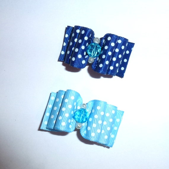 "Puppy Dog Bows ~ 7/8"" blue bows for boys polka dots pet hair show bow barrettes or bands (FB199)"
