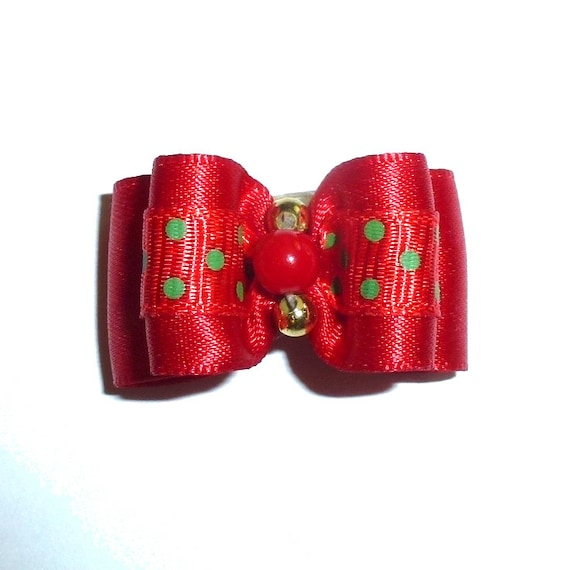 """Puppy bows ~ 7/8"""" red dots pet hair show bow barrettes or bands (FB290a)"""