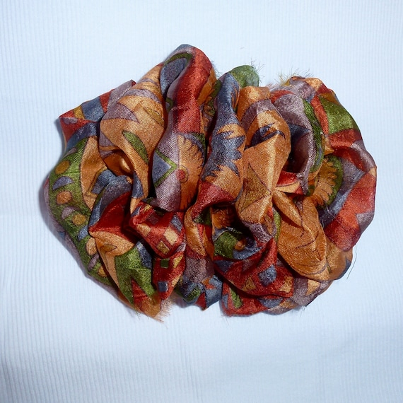 Becky Bows ~ OOAK ladies  Hand crafted SILK shabby chic  BIG fashion hair bow for ladies or Girls giant gold orange brown
