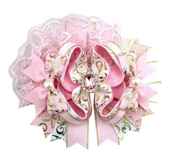 Puppy Bows ~  Pink gold lace rhinestone pearls over the top amazing! dog collar slide flower barrette hair accessory  ~USA seller (DC9)