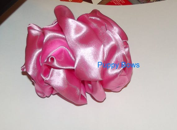 Becky Bows ~ Barrette huge BIG hair bow Women or Girls large  solid 4 colors satin taffeta