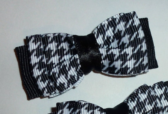 Puppy Bows ~ 3 black white herringbone pet hair bow latex band ~Usa seller (fb108)