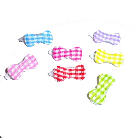 """Dog hair clip tiny gingham  bowknot 3/4"""" wide pet hair barrette bow  (fb28)"""
