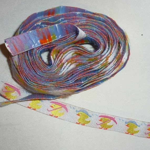 "Craft supplies ribbon 5/8"" duck in the rain pink blue yellow jacquard - US seller"
