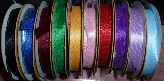 "Puppy Bows ~ ribbon craft supplies  3/8"" satin ribbon 9 rolls assorted colors mixed lot red blue purple black green 5-8 yds each"