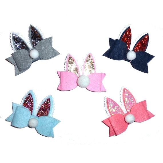 Puppy Bows ~Easter bunny rabbit ears dog bow  collar slide pet hair clip barrette or latex bands (fb81)