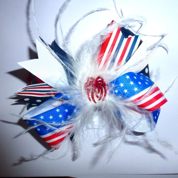 Puppy Bows ~ Patriotic feather boa 4th of July Independence day dog collar slide on accessory or hair barrette red white blue