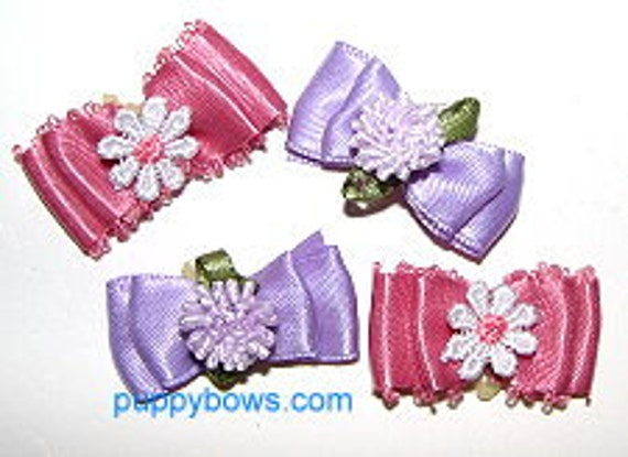 Puppy Bows ~ Picot topknot dog bows in assorted colors pet hair accessories USA seller