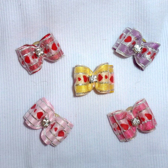 Puppy Bows ~Organza heart bows for dogs 5 show bows dog bow  pet hair clip barrette or latex bands (sb1)