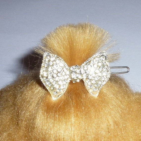 Puppy Bows ~ Small crystal rhinestone bowknot dog bow  pet hair clip topknot barrette Style #32