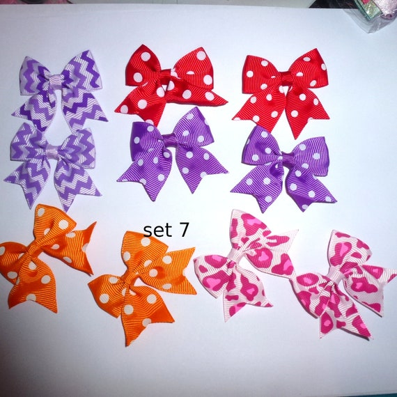 Puppy Bows ~ 10 dog bow for girls - pairs dog grooming pet hair bows - set 7