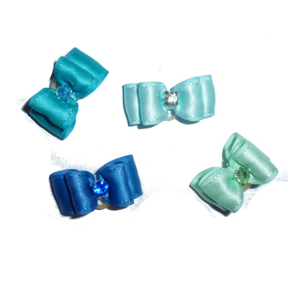 "Puppy Dog Bows ~ 5/8"" satin bowknot SET OF 4! boys pet hair show bow barrettes or bands (saset9)"