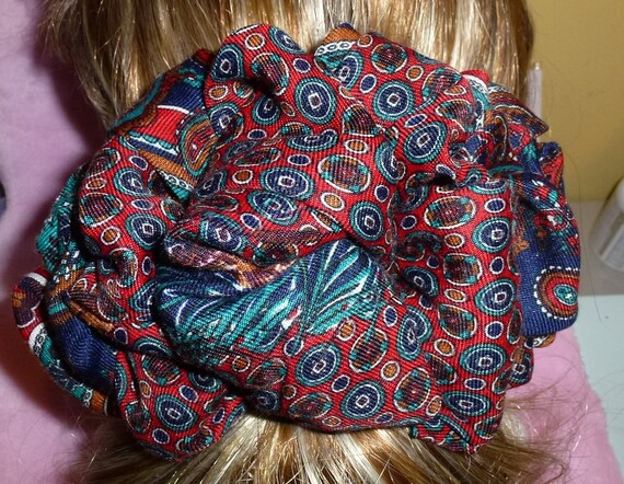 Becky Bows ~  Barrette scarf Hand crafted oversized  BIG hair bow Women or Girls burnt orange paisley