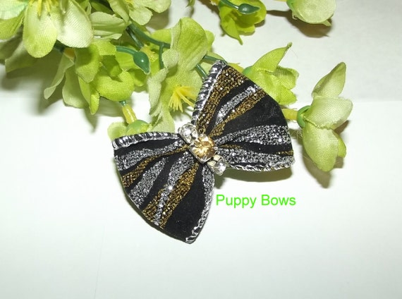 Puppy Bows ~Barrette or latex bands DOG BOW round or bowtie topknot black gold silver ~USA seller