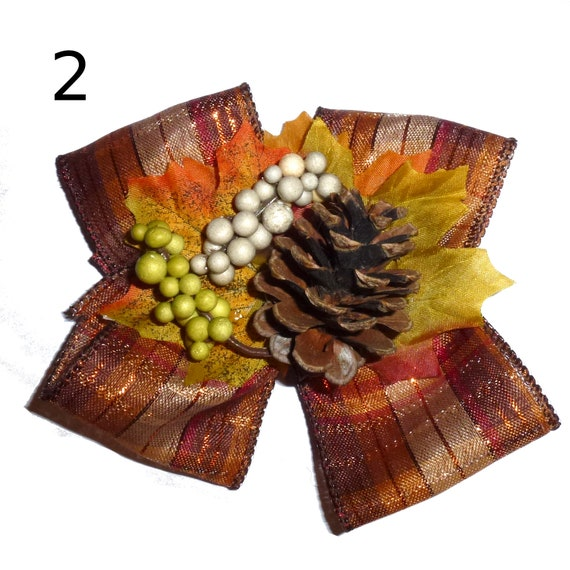 Puppy Bows ~ Dog collar slide on bow large THANKSGIVING autumn fall hair bow ~USA seller