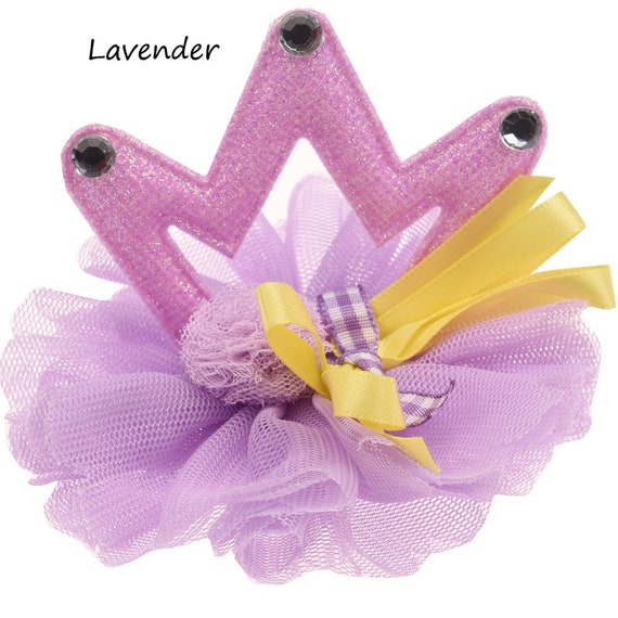 Puppy Bows ~Crown 3D glitter tiara birthday pink or purple hat pet hair bow for dogs NECK STRAP & clip ~USA seller (fb119)