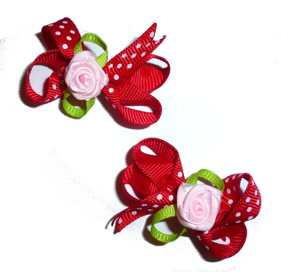 Puppy Bows ~ Red polka dot twisted boutique rose dog bow for girls - pairs dog grooming pet hair bows - (FB211)