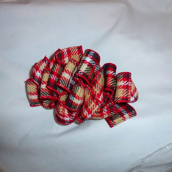 Becky Bows ~ Scottish berry inspired Barrette Hand crafted  BIG hair bow Women or Girls khaki red plaid