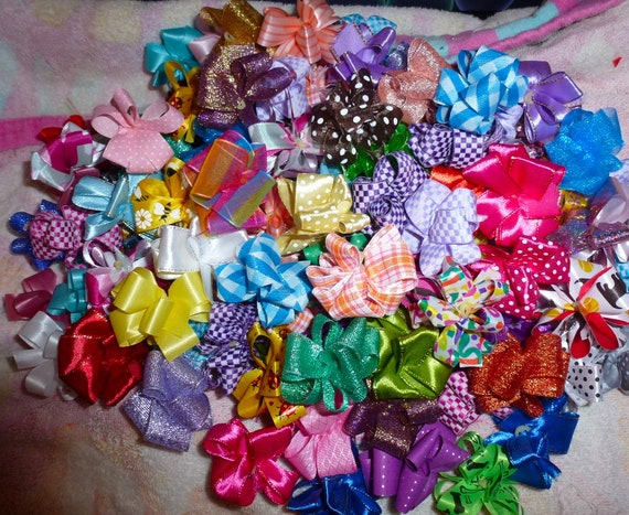Puppy Bows ~  Over 100 NEW COLORS! Party puffs dog grooming bows all colors US seller