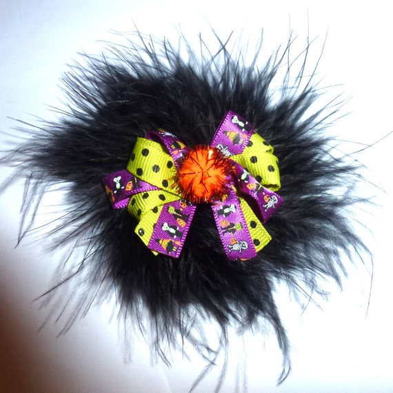Puppy Dog Bows ~ Marabou feather boa Halloween purple black green pet hair bow barrettes or bands