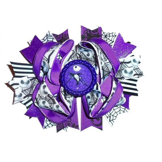 Puppy Bows ~ Dog collar slide bow  Christmas nightmare skeleton purple black white jack accessory  (DC12)