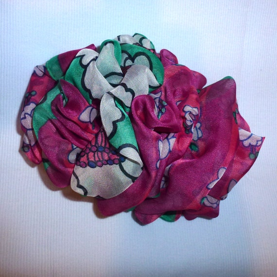 Becky Bows ~  Barrette ribbon Hand crafted over sized  BIG hair bow Women or Girls pink green