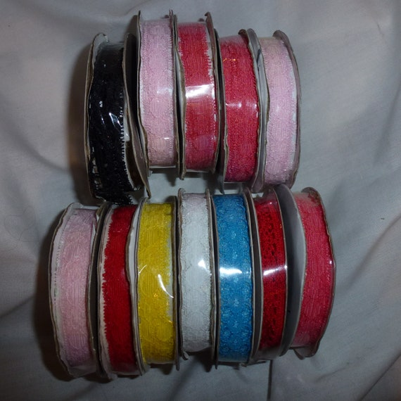 "Puppy Bows ~craft supplies LOT 12 rolls 1/2"" lace ribbon pink red blue white black  (lot21)"