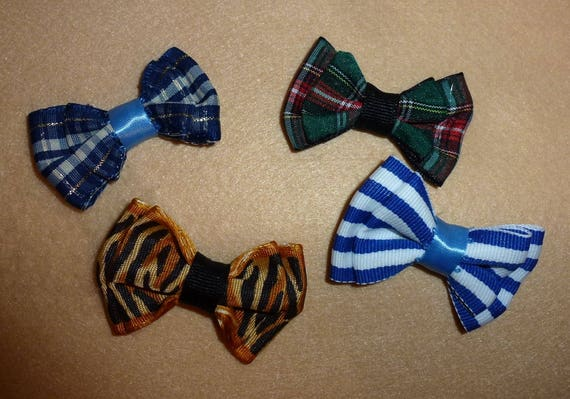 Puppy Bows ~  CLEARANCE SALE 40% OFF 4 bows for boys blue green brown  pet hair bow latex bands or barrette   (fb79)