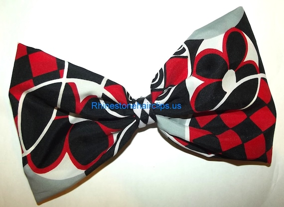 Becky Bows ~OOAK Barrette Hand crafted huge Scarf BIG hair bow Women or Girls giant RED black