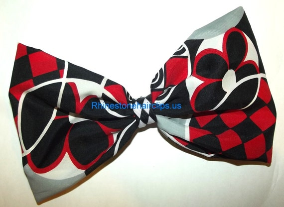 CLEARANCE~ Barrette Hand crafted huge Scarf BIG hair bow Women or Girls giant RED black